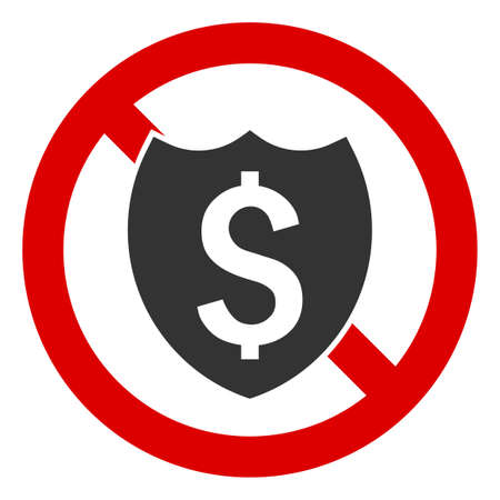 No Banking Shield icon. Illustration style is a flat iconic symbol inside red crossed circle on a white background. Simple No Banking Shield raster sign, designed for rules, restrictions, regulations,