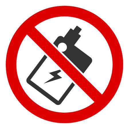 No Electronic Vaping icon. Illustration style is a flat iconic symbol inside red crossed circle on a white background. Simple No Electronic Vaping raster sign, designed for rules, restrictions,