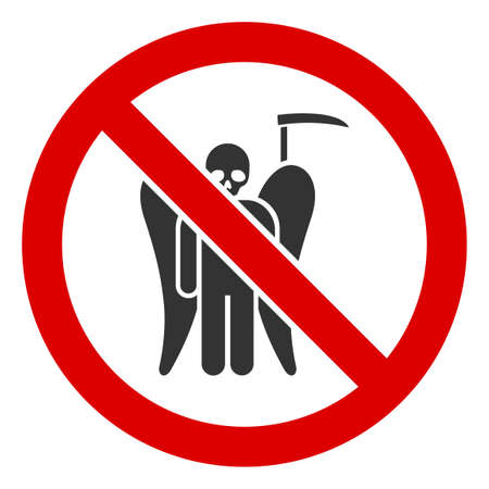 No Death Angel icon. Illustration style is a flat iconic symbol inside red crossed circle on a white background. Simple No Death Angel raster sign, designed for rules, restrictions, regulations,