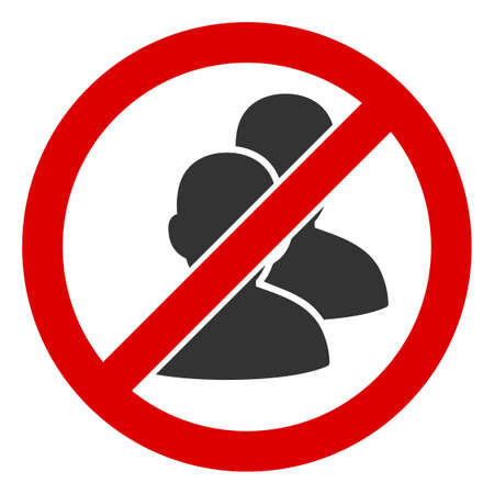 No Humans icon. Illustration style is a flat iconic symbol inside red crossed circle on a white background. Simple No Humans raster sign, designed for rules, restrictions, regulations,