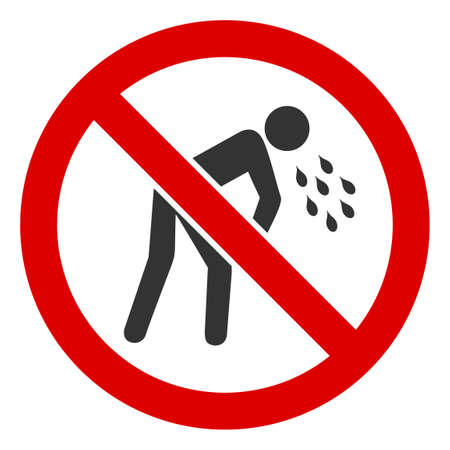 No Vomiting icon. Illustration style is a flat iconic symbol inside red crossed circle on a white background. Simple No Vomiting raster sign, designed for rules, restrictions, regulations,