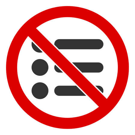 No Items icon. Illustration style is a flat iconic symbol inside red crossed circle on a white background. Simple No Items raster sign, designed for rules, restrictions, regulations, law descriptions,
