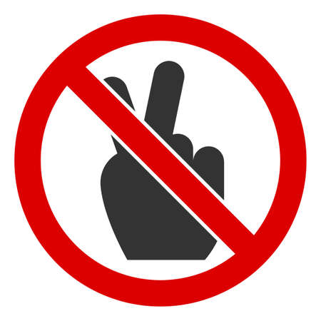 No Victory Gesture icon. Illustration style is a flat iconic symbol inside red crossed circle on a white background. Simple No Victory Gesture raster sign, designed for rules, restrictions,
