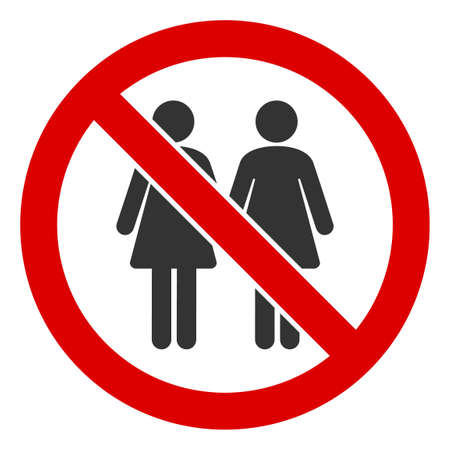 No Lesbian Couple icon. Illustration style is a flat iconic symbol inside red crossed circle on a white background. Simple No Lesbian Couple raster sign, designed for rules, restrictions, regulations,