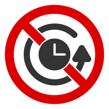 No Time Back icon. Illustration style is a flat iconic symbol inside red crossed circle on a white background. Simple No Time Back raster sign, designed for rules, restrictions, regulations,