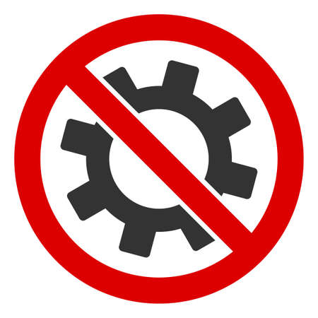 No Gear icon. Illustration style is a flat iconic symbol inside red crossed circle on a white background. Simple No Gear raster sign, designed for rules, restrictions, regulations, law descriptions,