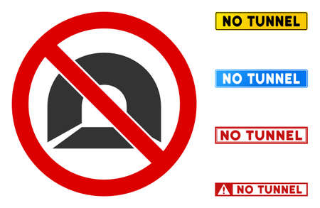 No Tunnel sign with badges in rectangular frames. Illustration style is a flat iconic symbol inside red crossed circle on a white background. Simple No Tunnel vector sign, designed for rules,