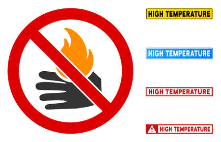 No Burn Hand sign with words in rectangular frames. Illustration style is a flat iconic symbol inside red crossed circle on a white background. Simple No Burn Hand vector sign, designed for rules,