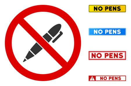 No Pen sign with captions in rectangular frames. Illustration style is a flat iconic symbol inside red crossed circle on a white background. Simple No Pen vector sign, designed for rules, Illustration