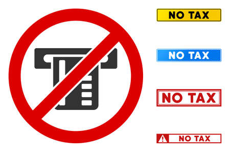 No ATM Terminal sign with texts in rectangular frames. Illustration style is a flat iconic symbol inside red crossed circle on a white background. Simple No ATM Terminal vector sign,