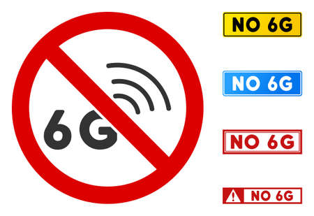 No 6G Signal sign with titles in rectangular frames. Illustration style is a flat iconic symbol inside red crossed circle on a white background. Simple No 6G Signal vector sign, designed for rules,