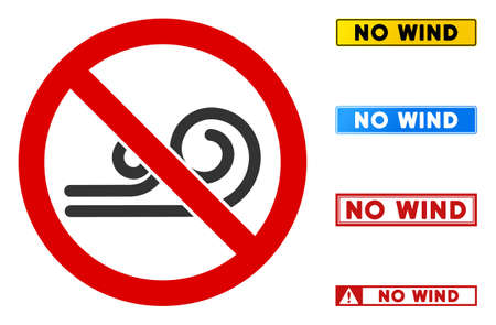 No Wind sign with captions in rectangular frames. Illustration style is a flat iconic symbol inside red crossed circle on a white background. Simple No Wind vector sign, designed for rules,