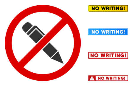 No Writing Pen sign with titles in rectangle frames. Illustration style is a flat iconic symbol inside red crossed circle on a white background. Simple No Writing Pen vector sign, designed for rules,