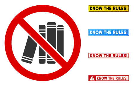 No Book Library sign with words in rectangular frames. Illustration style is a flat iconic symbol inside red crossed circle on a white background. Simple No Book Library vector sign, 向量圖像