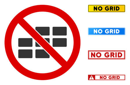 No Grid sign with badges in rectangular frames. Illustration style is a flat iconic symbol inside red crossed circle on a white background. Simple No Grid vector sign, designed for rules, 向量圖像