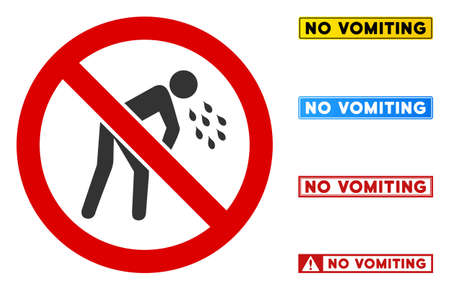 No Vomiting sign with words in rectangular frames. Illustration style is a flat iconic symbol inside red crossed circle on a white background. Simple No Vomiting vector sign, designed for rules, Stock Illustratie