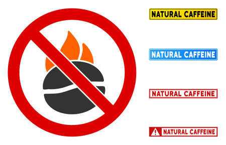 No Burn Coffee sign with titles in rectangle frames. Illustration style is a flat iconic symbol inside red crossed circle on a white background. Simple No Burn Coffee vector sign, designed for rules, Vector Illustratie
