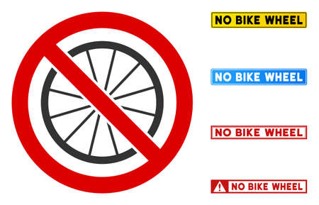 No Bike Wheel sign with badges in rectangular frames. Illustration style is a flat iconic symbol inside red crossed circle on a white background. Simple No Bike Wheel vector sign, designed for rules,