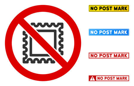 No Post Mark sign with titles in rectangle frames. Illustration style is a flat iconic symbol inside red crossed circle on a white background. Simple No Post Mark vector sign, designed for rules,
