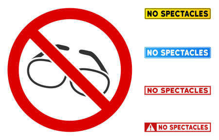 No Spectacles sign with words in rectangle frames. Illustration style is a flat iconic symbol inside red crossed circle on a white background. Simple No Spectacles vector sign, designed for rules,