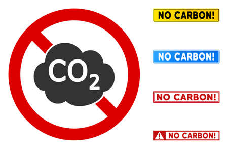 No Co2 Pollution sign with titles in rectangular frames. Illustration style is a flat iconic symbol inside red crossed circle on a white background. Simple No Co2 Pollution vector sign,