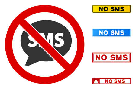 No SMS sign with captions in rectangle frames. Illustration style is a flat iconic symbol inside red crossed circle on a white background. Simple No SMS vector sign, designed for rules, restrictions,