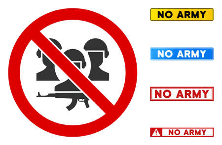 No Army sign with captions in rectangular frames. Illustration style is a flat iconic symbol inside red crossed circle on a white background. Simple No Army vector sign, designed for rules,