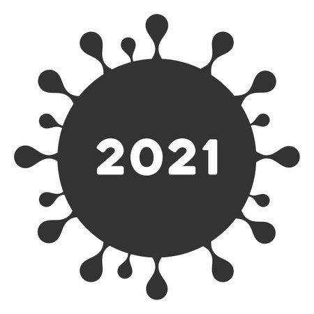 Vector 2021 coronavirus illustration. An isolated illustration on a white background.