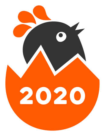 Vector 2020 hatch chick illustration. An isolated illustration on a white background.