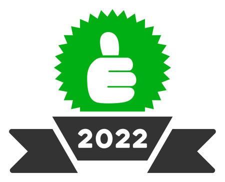 Raster 2022 award ribbon illustration. An isolated illustration on a white background.
