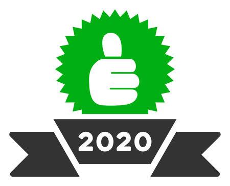 Raster 2020 award ribbon illustration. An isolated illustration on a white background.