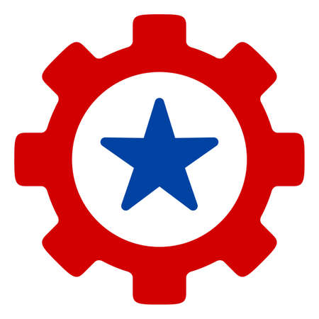 Mechaincs cog icon in blue and red colors with stars. Mechaincs cog illustration style uses American official colors of Democratic and Republican political parties, and star shapes.