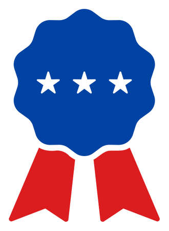 Medal award icon in blue and red colors with stars. Medal award illustration style uses American official colors of Democratic and Republican political parties, and star shapes.