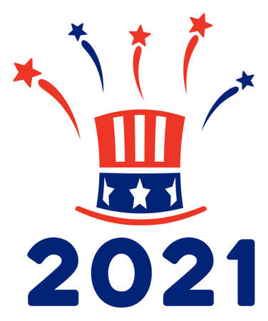 Uncle Sam 2021 salute icon in blue and red colors with stars. Uncle Sam 2021 salute illustration style uses American official colors of Democratic and Republican political parties, and star shapes.