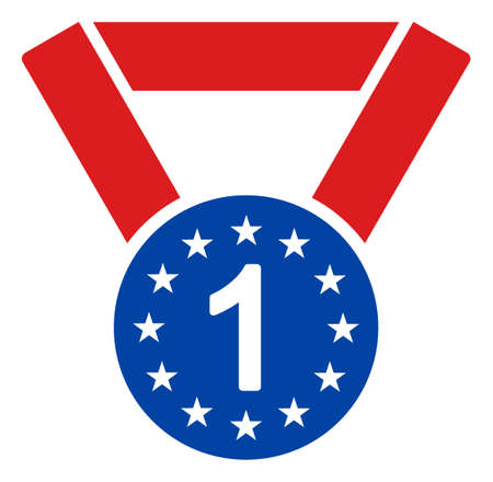 First medal icon in blue and red colors with stars. First medal illustration style uses American official colors of Democratic and Republican political parties, and star shapes.