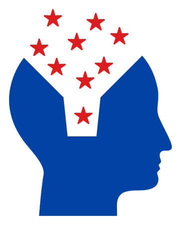 Memory content head icon in blue and red colors with stars. Memory content head illustration style uses American official colors of Democratic and Republican political parties, and star shapes. Foto de archivo