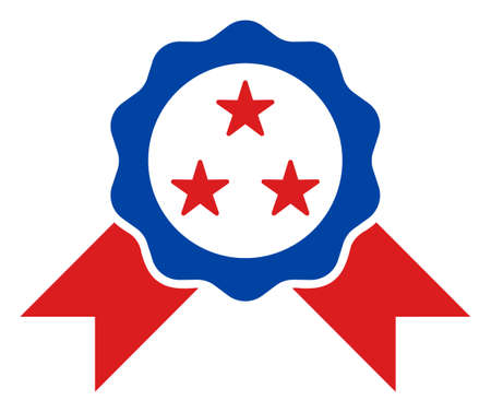 Award seal icon in blue and red colors with stars. Award seal illustration style uses American official colors of Democratic and Republican political parties, and star shapes.