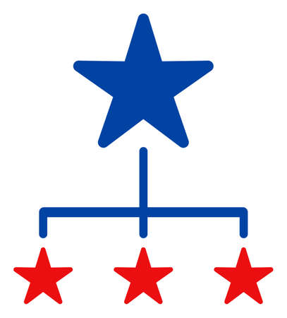 Replication diagram icon in blue and red colors with stars. Replication diagram illustration style uses American official colors of Democratic and Republican political parties, and star shapes.