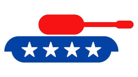 Armour tank icon in blue and red colors with stars. Armour tank illustration style uses American official colors of Democratic and Republican political parties, and star shapes.
