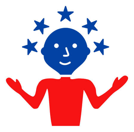 Happy man icon in blue and red colors with stars. Happy man illustration style uses American official colors of Democratic and Republican political parties, and star shapes. Banque d'images
