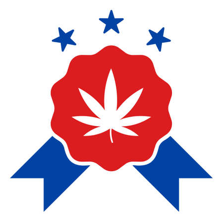 Quality cannabis icon in blue and red colors with stars. Quality cannabis illustration style uses American official colors of Democratic and Republican political parties, and star shapes.