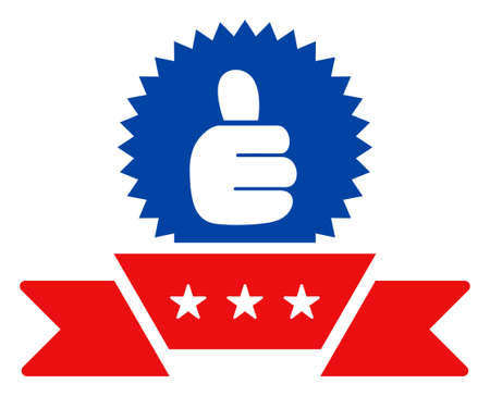 Ribbon award icon in blue and red colors with stars. Ribbon award illustration style uses American official colors of Democratic and Republican political parties, and star shapes.