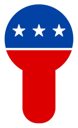 Key hole icon in blue and red colors with stars. Key hole illustration style uses American official colors of Democratic and Republican political parties, and star shapes. Simple key hole raster sign,