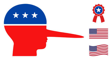 Liar head icon in blue and red colors with stars. Liar head illustration style uses American official colors of Democratic and Republican political parties, and star shapes. Vektorové ilustrace