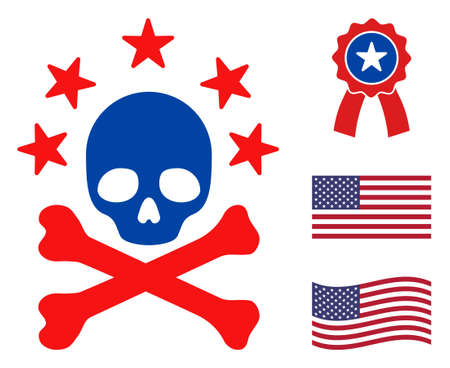 Death bones icon in blue and red colors with stars. Death bones illustration style uses American official colors of Democratic and Republican political parties, and star shapes.