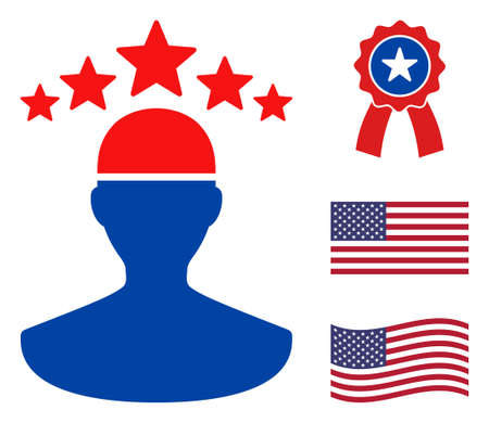 Person icon in blue and red colors with stars. Person illustration style uses American official colors of Democratic and Republican political parties, and star shapes. Simple person vector sign, Ilustración de vector