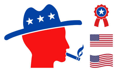 Smoking farmer icon in blue and red colors with stars. Smoking farmer illustration style uses American official colors of Democratic and Republican political parties, and star shapes.