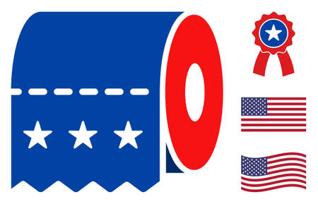 Toilet paper icon in blue and red colors with stars. Toilet paper illustration style uses American official colors of Democratic and Republican political parties, and star shapes.