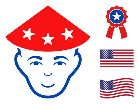 Chinese peasant head icon in blue and red colors with stars. Chinese peasant head illustration style uses American official colors of Democratic and Republican political parties, and star shapes.