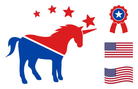 Unicorn icon in blue and red colors with stars. Unicorn illustration style uses American official colors of Democratic and Republican political parties, and star shapes. Simple unicorn vector sign, Ilustración de vector